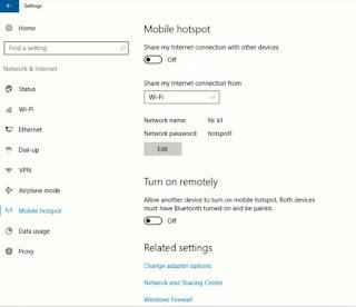 Cara membuat Hotspot dari Windows Settings dengan fitur Mobile Hotspot