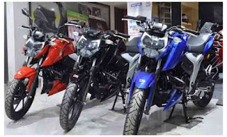 apache rtr 160 4v colours: matte Blue, Racing Red, Knight Black in Bangladesh