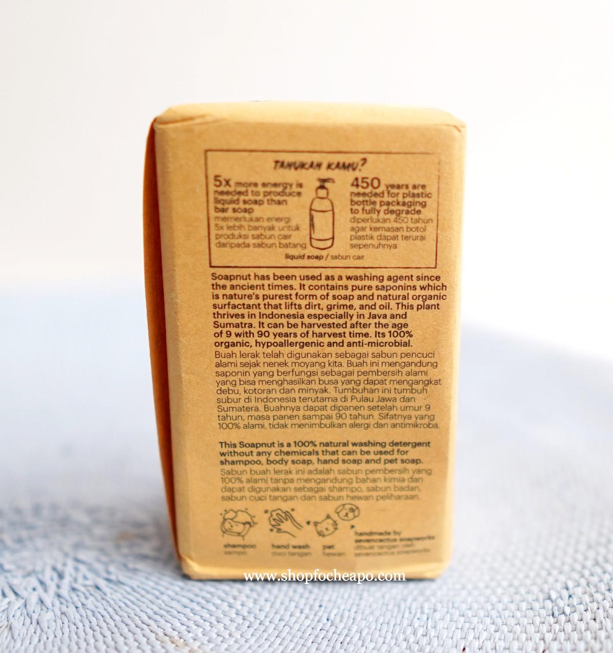 deksripsi yang tertera di bungkus sabun