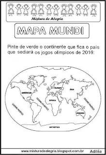 Jogos olímpicos 2016 e mapa mundi