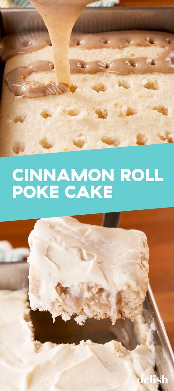 AWESOME CINNAMON ROLL POKE CAKE RECIPE
