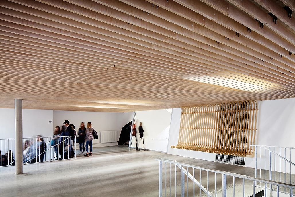 Dinamismo en lamas de madera espacios en madera - Falso techo madera ...
