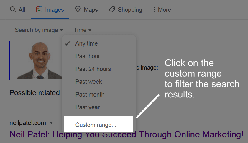 Click on the custom range to filter the image search results.