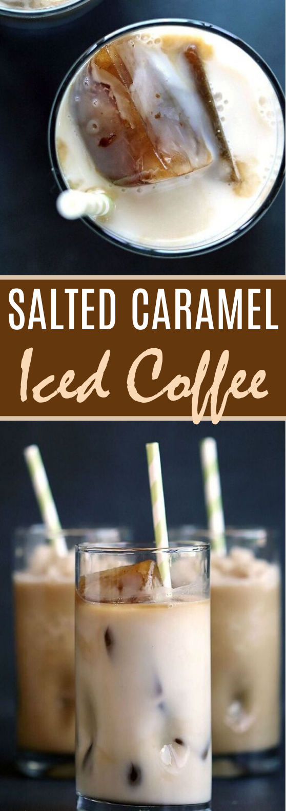 Easy Salted Caramel Iced or Frozen Coffee #drinks #coffee #iced #beverages #summer