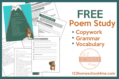 fable poem study including copywork, grammar, vocabulary, and more
