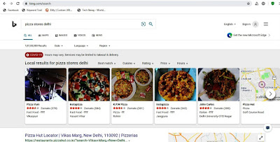 Pizza store Locator by Bing search
