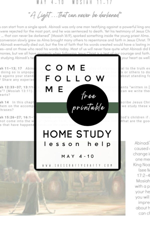 Free Printable to help study Come Follow Me at home  |  May 4-10