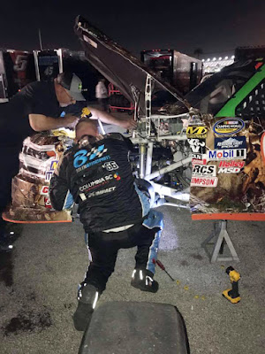 #NASCAR Crew Members Working On the Lap 2 Wreckage.