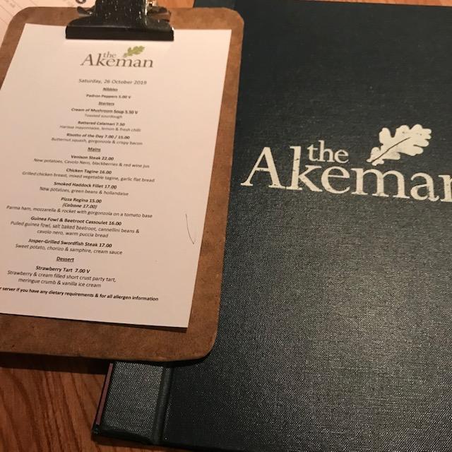 The Akeman, Tring, Herts, Menu