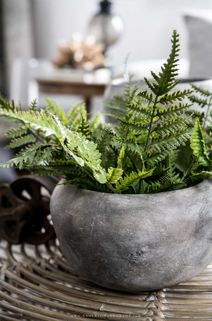 Gray stone planter filled with ferns