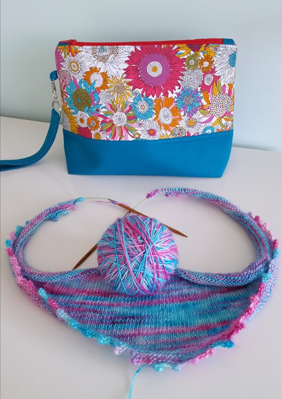Gorgeous Liberty project pouch for storing knitting and crochet work.