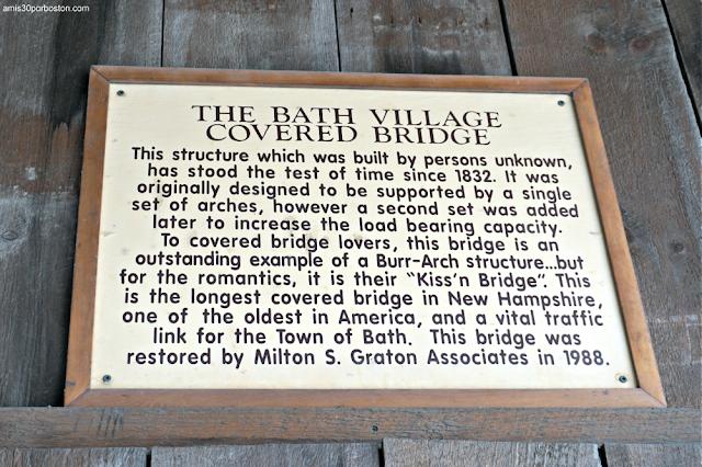 Placa Informativa del Puente Cubierto Bath en New Hampshire