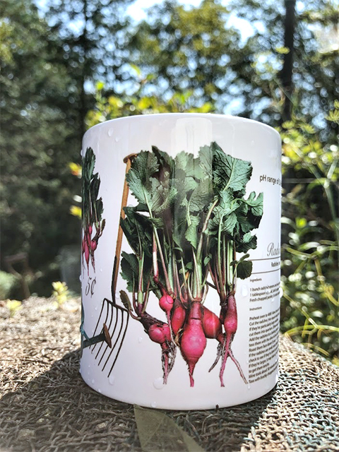 mug designed with radishes that were designed grown and harvested from seeds.
