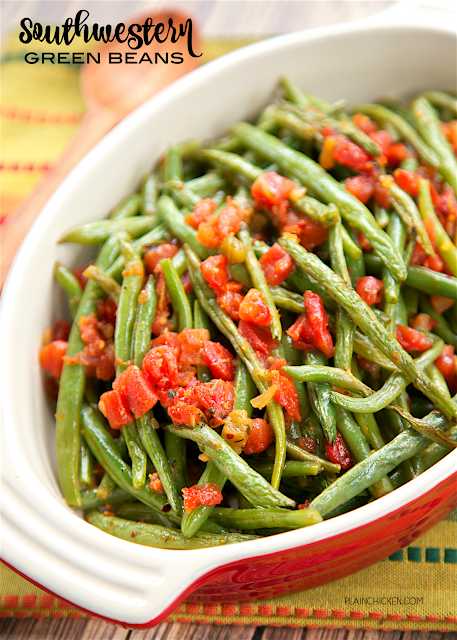 Southwestern Green Beans - only 4 ingredients and ready in about 20 minutes! Oven roasted green beans, Mexican Rotel tomatoes, olive oil and southwestern seasoning! Easy side dish with great flavor! We love to serve these with Mexican casseroles!