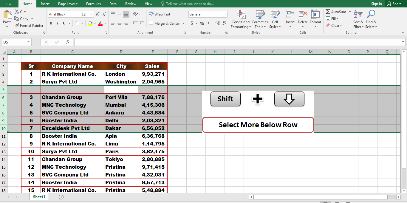 5 Important Excel Shortcut Keys That Make You An Expert In MS Excel Select,Shift + Down Arrow