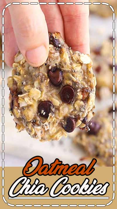 These oatmeal chia cookies are perfect for breakfast or as a healthy snack. The texture is chewy and similar to baked oatmeal. Plus they're portable and great for meal prep!