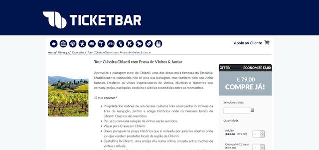 Ticketbar para um tour clássico por Chianti com prova de vinhos e jantar
