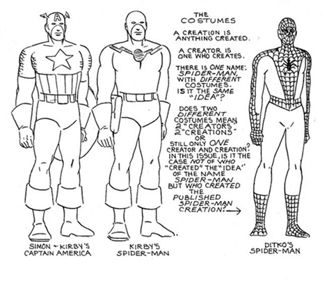 Diseños de Spiderman de Kirby y Steve Ditko