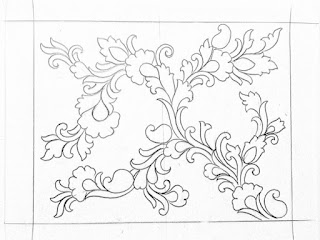 How to draw an easy flower design drawing for hand emroidery.hand emroidery saree design patterns pencil sketch on tracing paper.