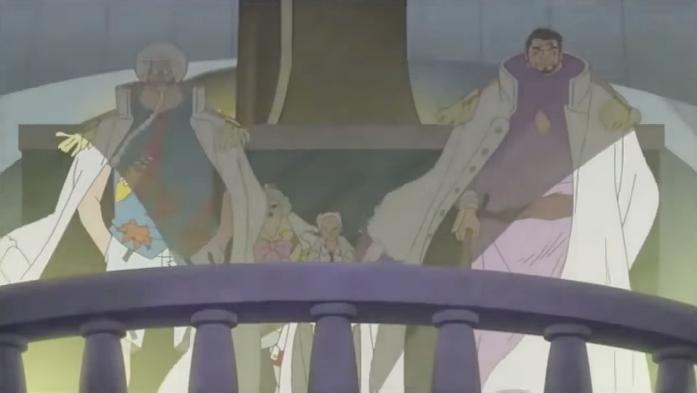 Jack solo với Fujitora, Sengoku và Tsuru