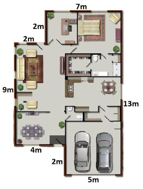 A família Silva construirá uma nova residência conforme a seguinte planta baixa humanizada