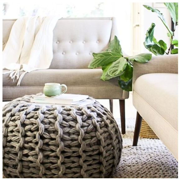 buy best cute round table with  dark grey linen crochet pouf for sofa corner