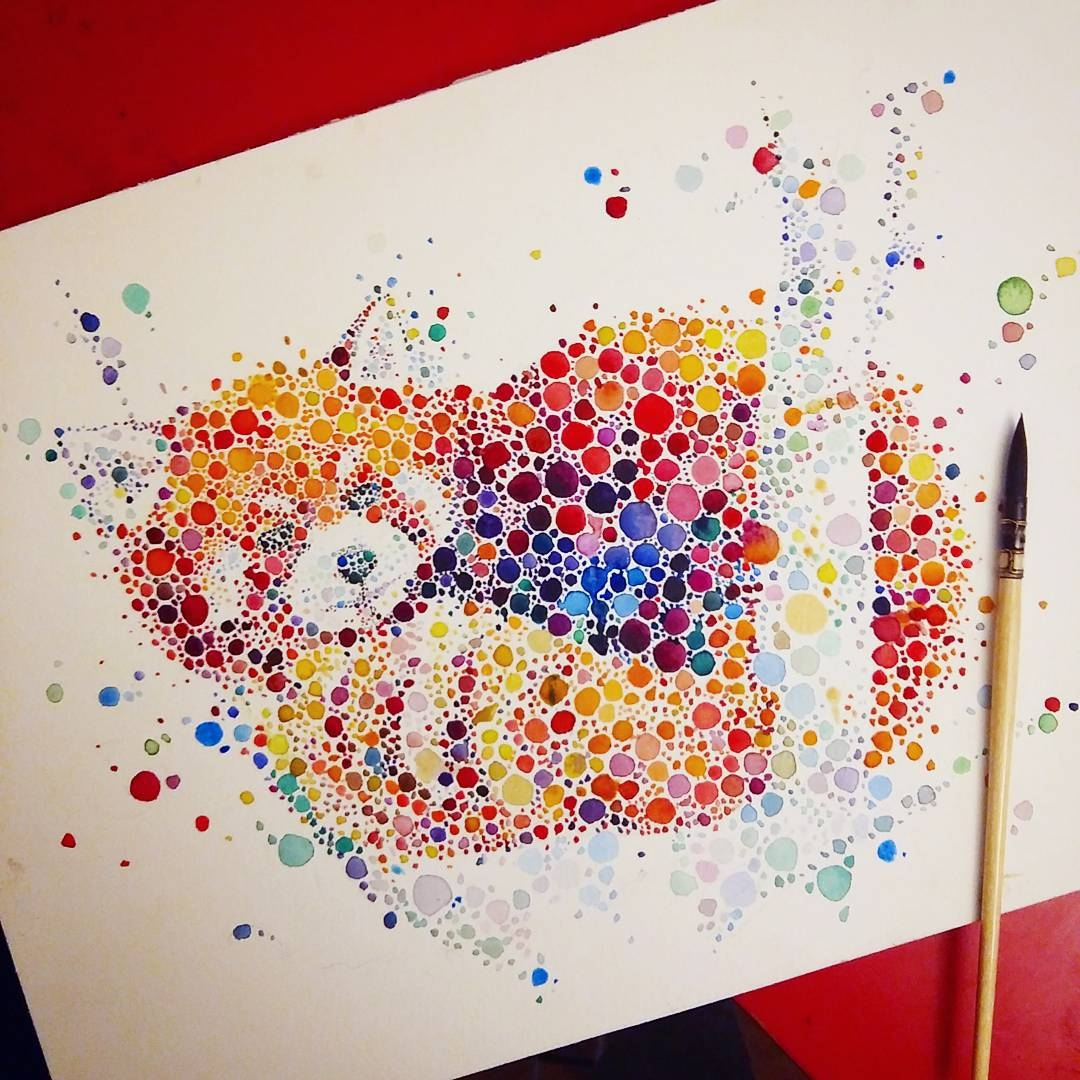 06-Red-Panda-Ana-Enshina-anaensh-Dot-and-Circle-Animal-Paintings-Ishihara-Test-www-designstack-co