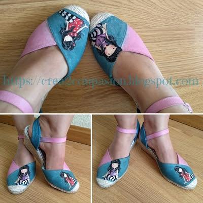 Zapatos-esparto-Gorjuss-pintura-en-tela-Crea2-con-Pasión-puesta-en-pie