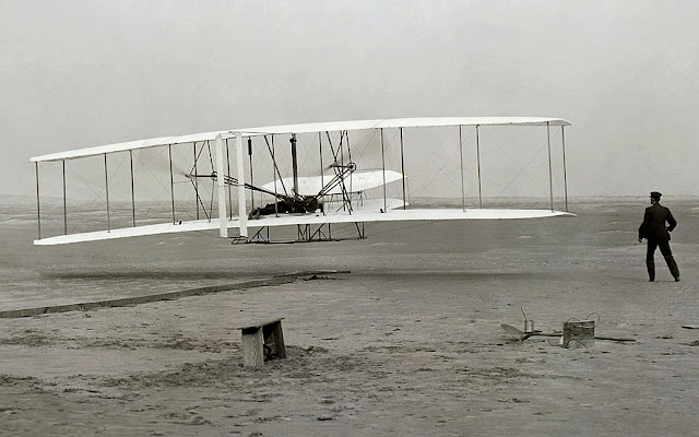 Photo of the first Wright Brothers powered flight, December 17, 1903.