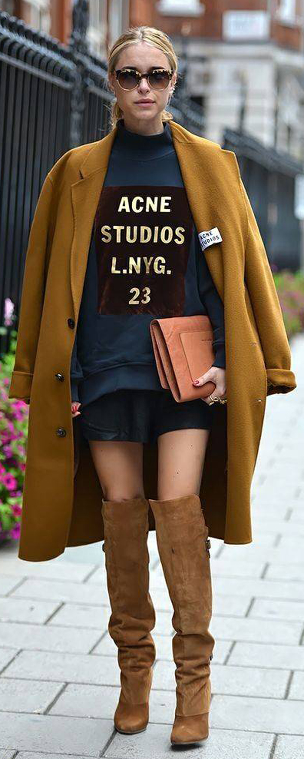 knee-high boots with coat