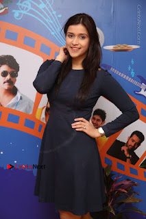 Actress Mannara Chopra Stills in Blue Short Dress at Rogue Song Launch at Radio City 91.1 FM  0030.jpg