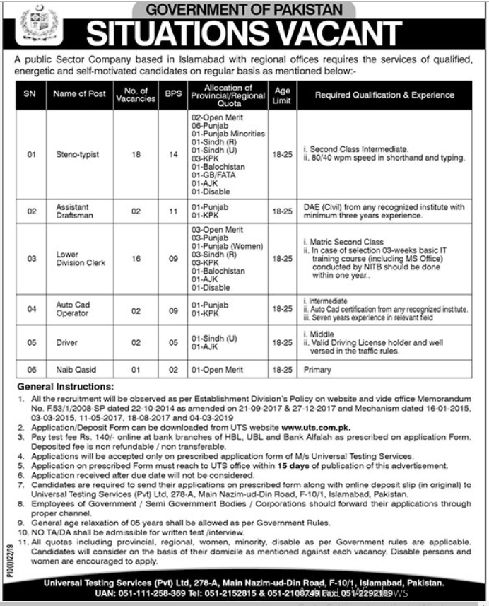 Advertisement for Government of Pakistan Jobs July 2019