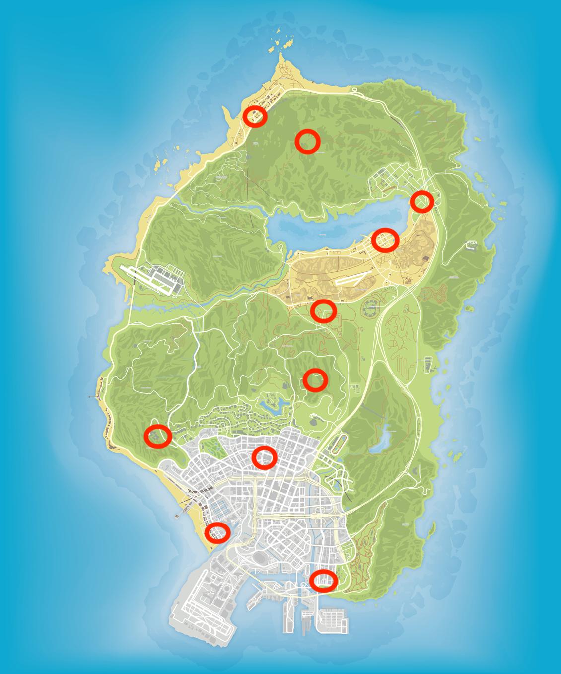 GTA Online: Locations of the 10 radio antennas