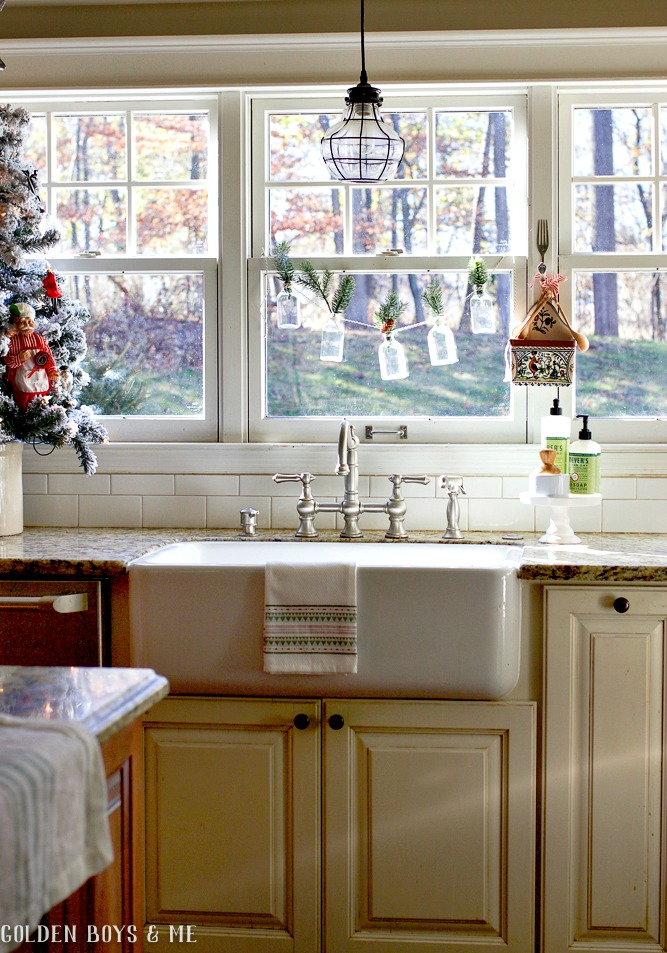 Farmhouse sink with apron front in holiday kitchen - Golden Boys and Me Holiday Home Tour 2017