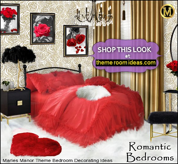 romantic bedroom decor red bedding heart decor feather lamps rose wallpaper ROMANTIC