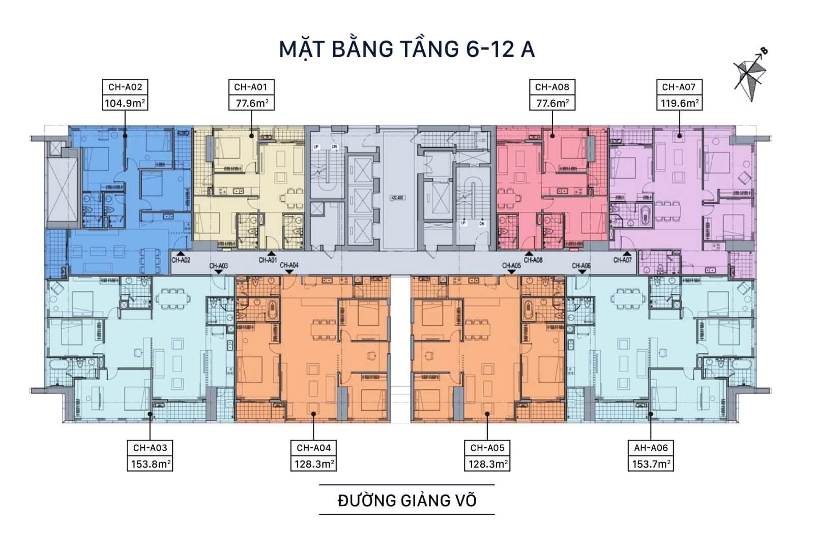 Mặt bằng tầng 6 - 12a chung cư Grandeur Palace