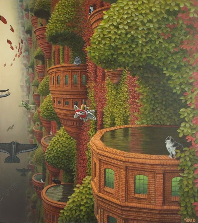 21-A-Cats-Dream-Jacek-Yerka-Surreal-Paintings-Parallel-Universes-www-designstack-co