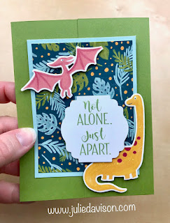 FREE Online Class: Stampin' Up! #ShareSunshine Covid-19 Product Giveback #stampinup #sudifferencemaker ~ 12 Quick & Easy Fun Fold Cards featuring Dinoroar Designer Paper ~ www.juliedavison.com