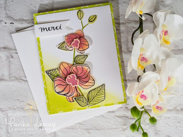 Carte de remerciement Stampin' Up! confectionnée avec le jeu d'étampes Orchidée grimpante