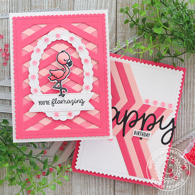 Card Ideas with Sunny Studio Stamps Frilly Frame Dies by Juliana MIchaels