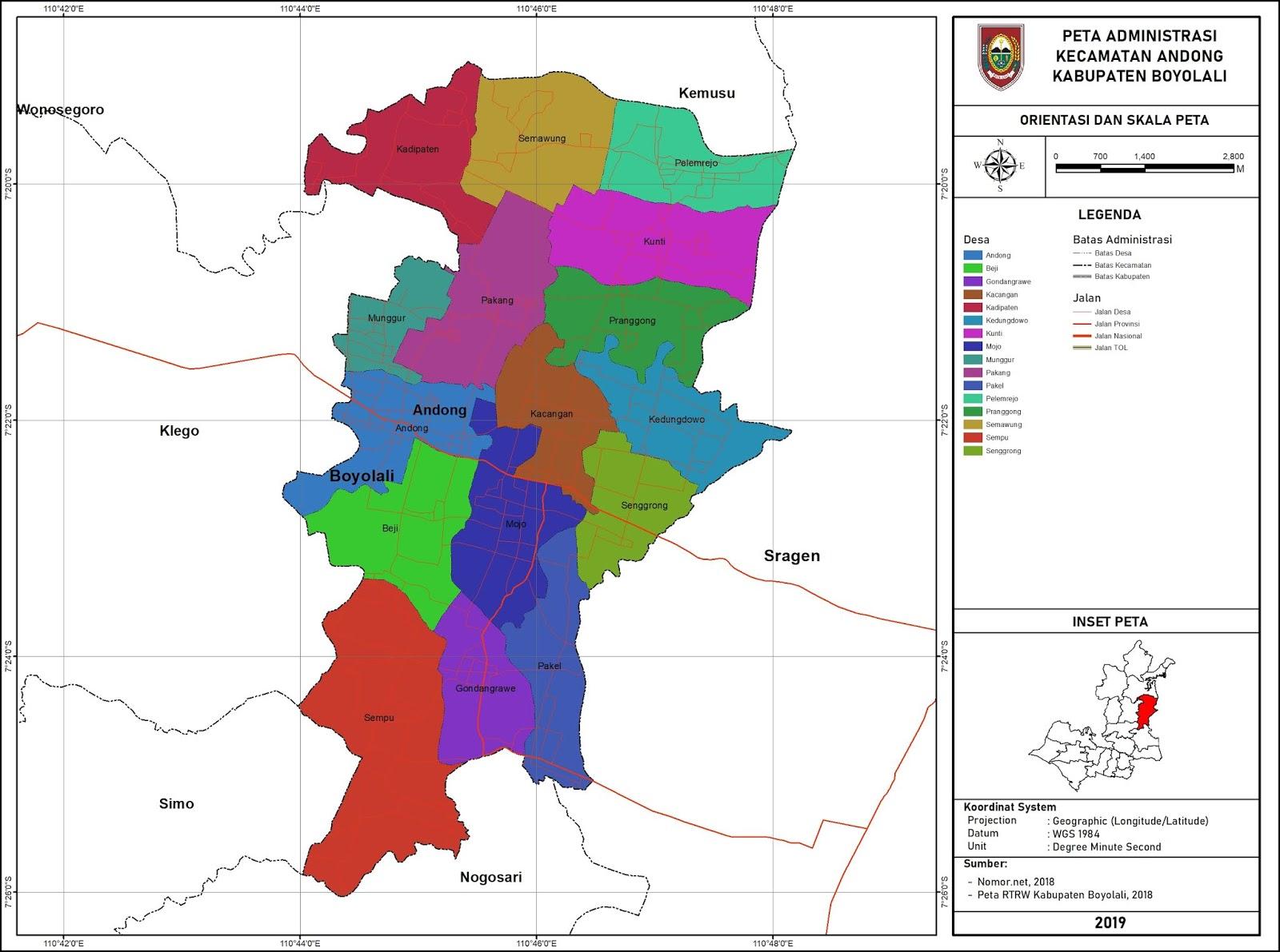 Peta Administrasi Kecamatan Andong, Kabuapten Boyolali ...