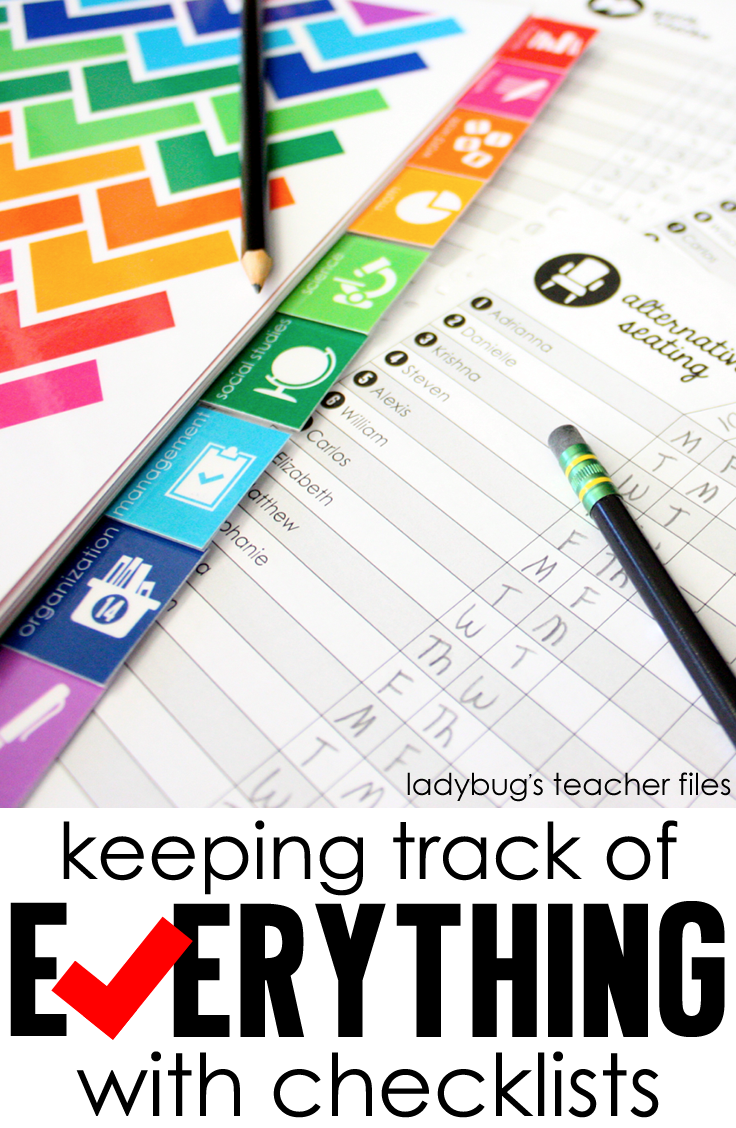Keeping Track of Everything with Checklists - Ladybug's Teacher Files
