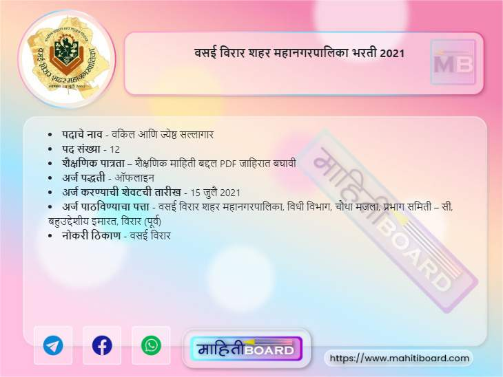 Vasai Virar Mahanagarpalika Recruitment 2021