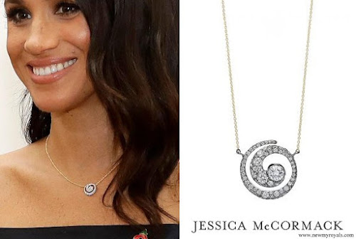 Meghan Markle wore JESSICA MCCORMACK Tattoo Diamond Pendant