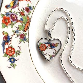 Broken china jewelry by Laura Love, Emmaus, PA.