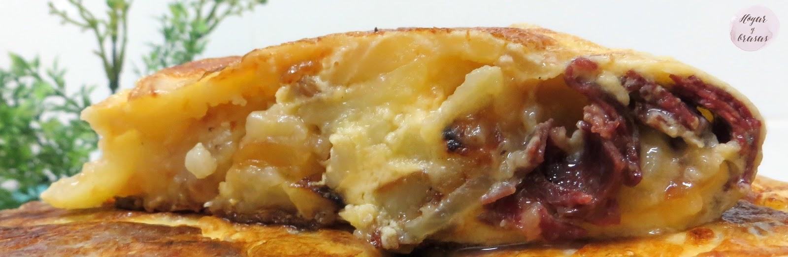 tortilla de queso de cabra cecina y patata