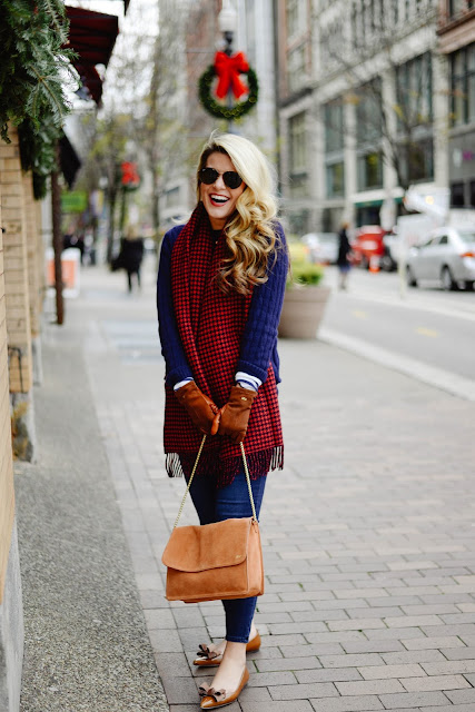 cashmere check scarf and manolo blahnik flats