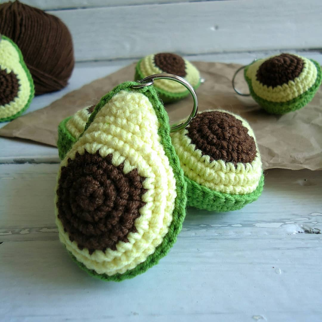 Crochet keychain avocado