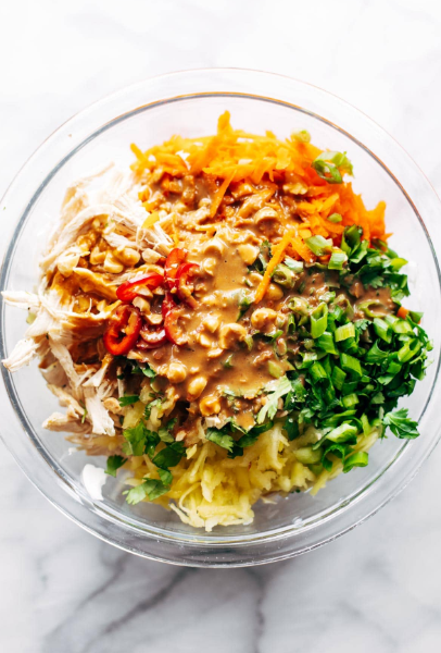 This simple chopped Thai chicken salad has BIG flavors – peanut, lime, soy, chili, cilantro. Topped with a homemade peanut dressing! Healthy and fresh.