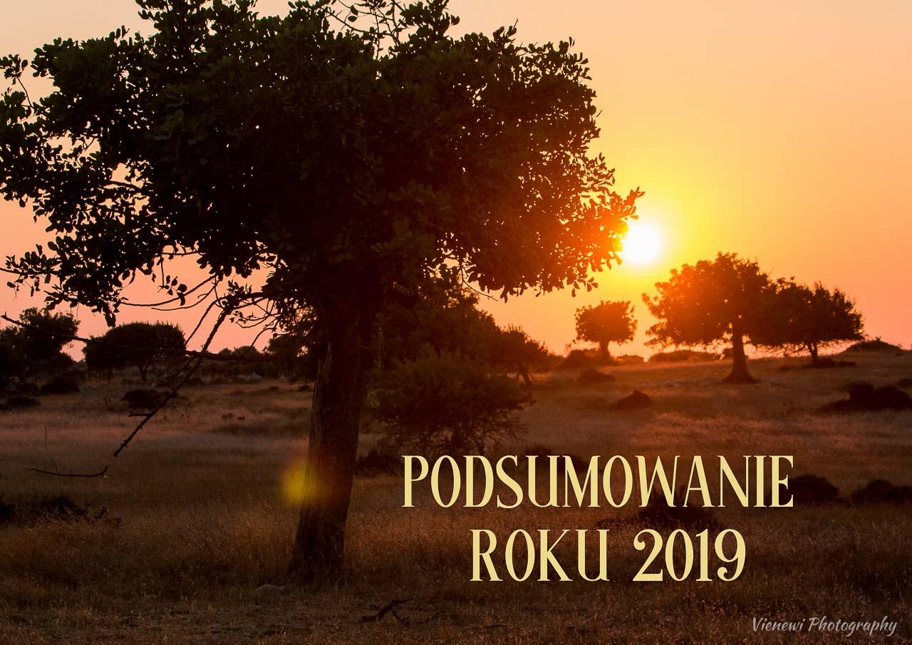 """Zdjęcie przedstawiające zachód słońca na polu z drzewami karobowymi. Na zdjęciu widnieje napis """"Podsumowanie roku 2019"""""""